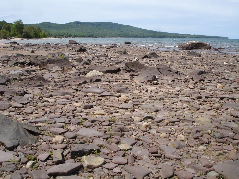 A photo of the Sandstone Cobble Shore natural community type